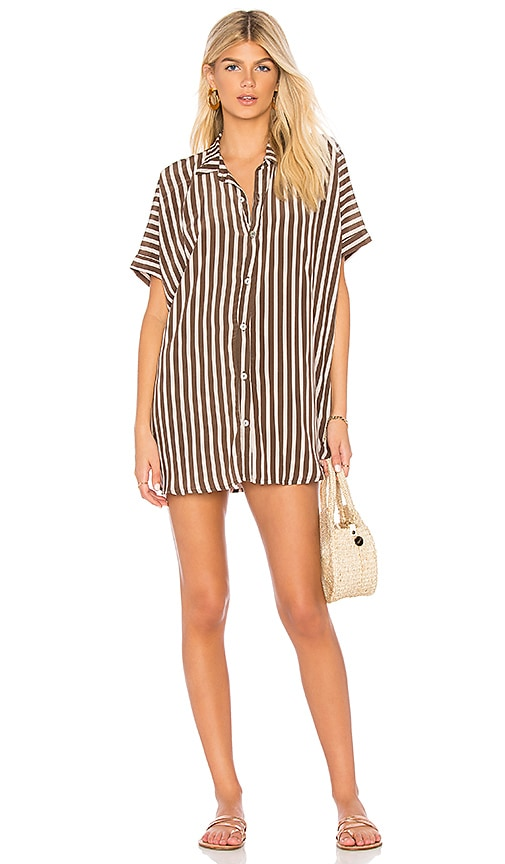 Acacia Swimwear Mombasa Shirt Dress in Brown