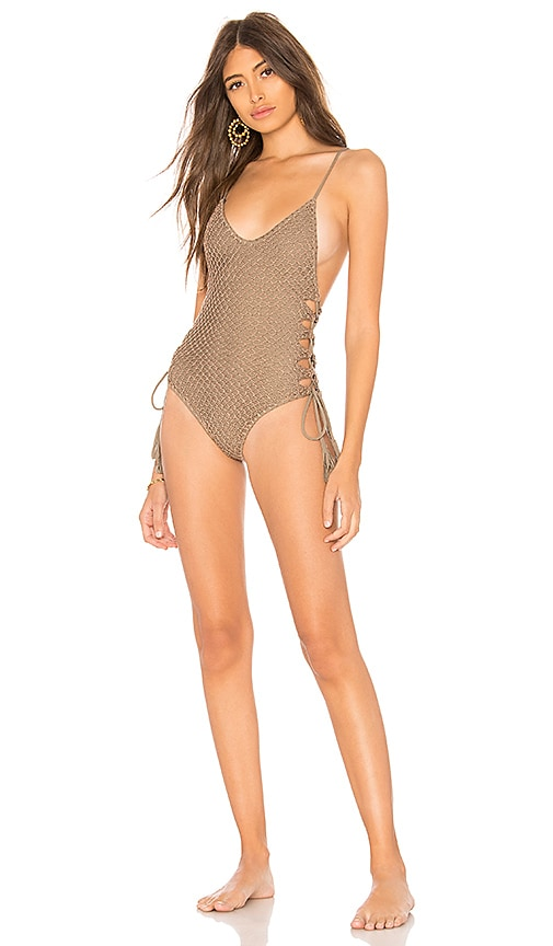 Acacia Swimwear Florence Crochet One Piece in Taupe