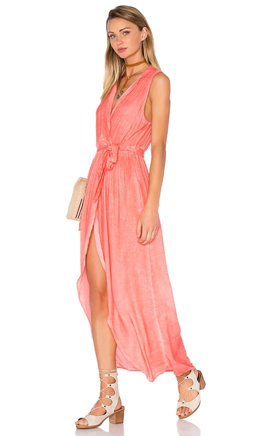 YFB CLOTHING Pier Maxi Dress in Hot Coral