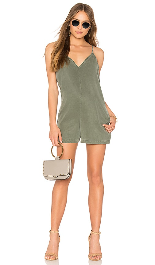 YFB CLOTHING Fedora Romper in Green