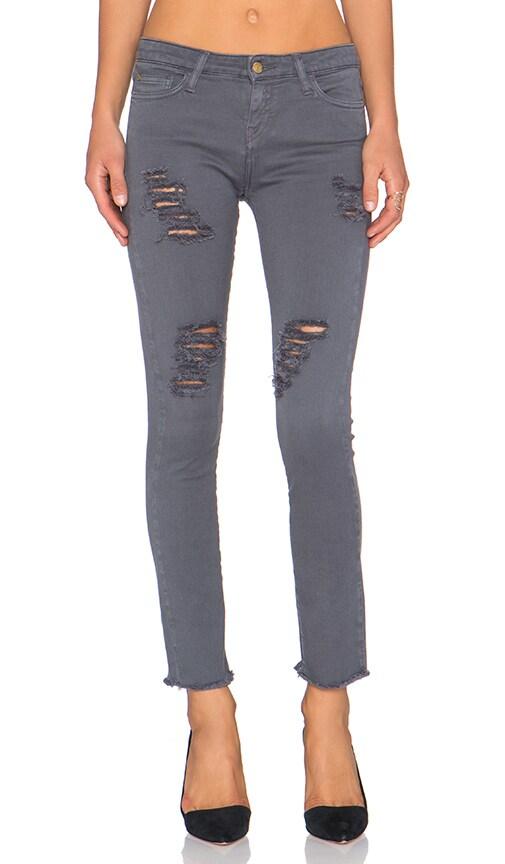 Acquaverde Skinny Jean in Anthracite Super Destroy Raw Edge