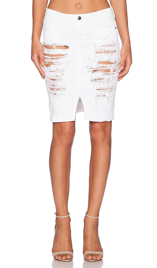 Acquaverde Naomie Denim Pencil Skirt in White