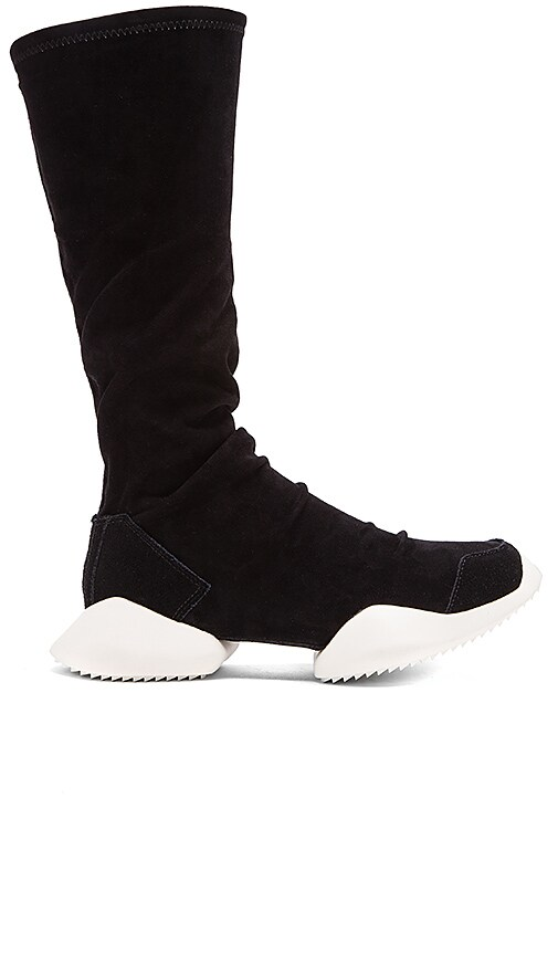 adidas by Rick Owens RO Runner Stretch Boot in Black Black RO Milk