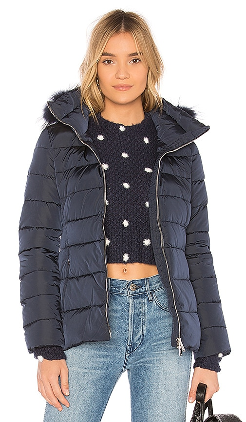 ADD Down Fur Trim Jacket in Blue
