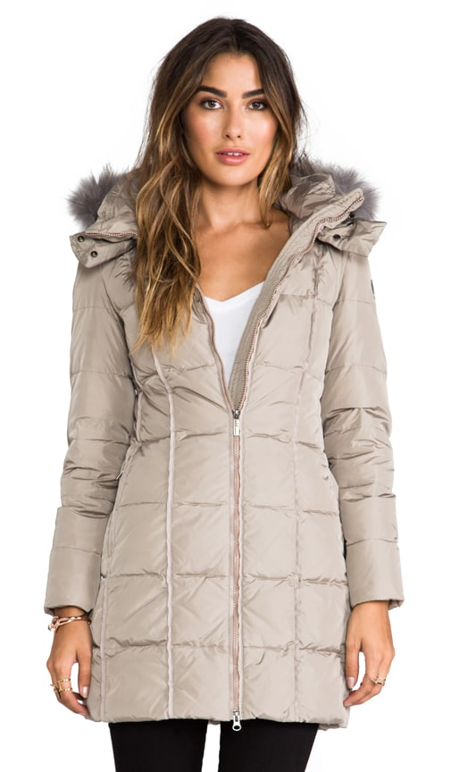 Down Coat With Hood and Fur