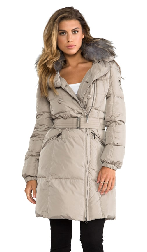 b0fbeaa2295a ADD Down Coat With Fur Collar in Beige