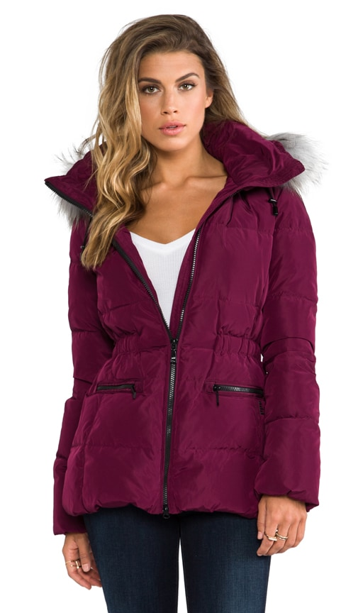 Down Jacket With Fur Border