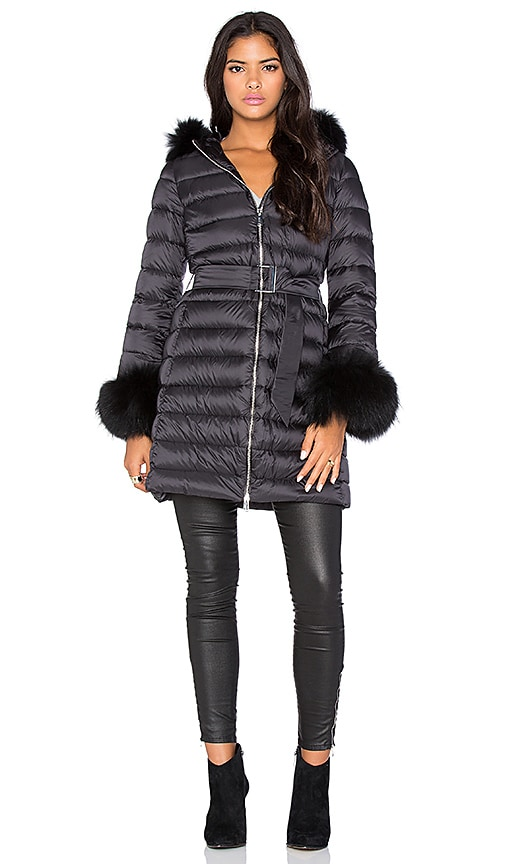 Down Coat with Asiatic Raccoon Fur Collar and Cuff