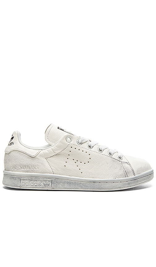 adidas by Raf Simons Stan Smith Aged Sneaker in White & Black