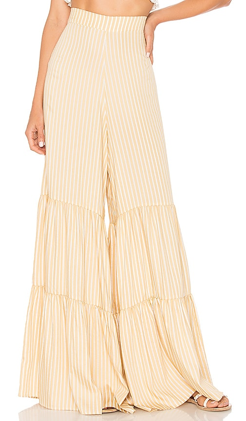 ADRIANA DEGREAS Striped Pants in Yellow