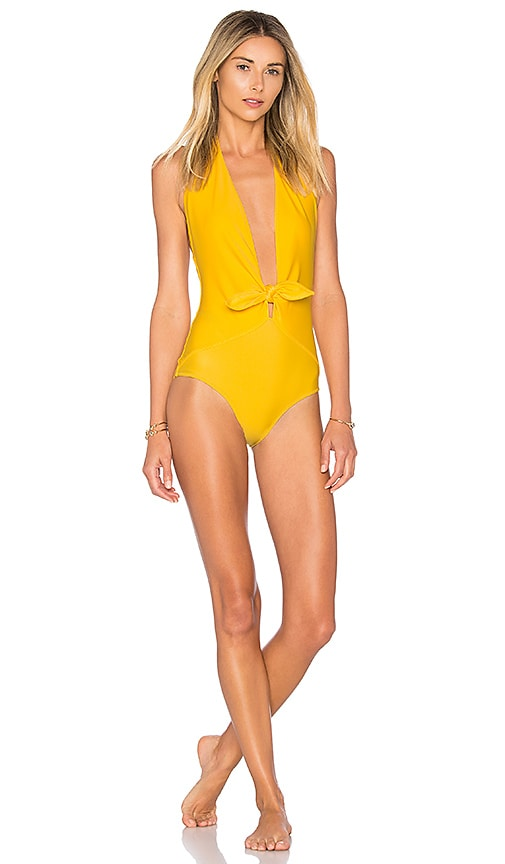 ADRIANA DEGREAS Tropical Leaves Knot One Piece in Yellow