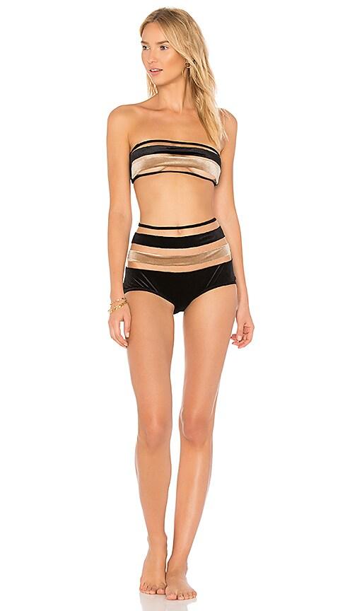 ADRIANA DEGREAS Striped Velvet Bandeau Hot Pant Set in Black
