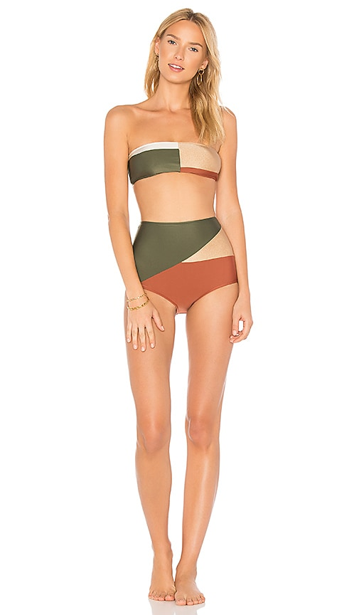 ADRIANA DEGREAS Classic Bandeau Hot Pant Set in Green