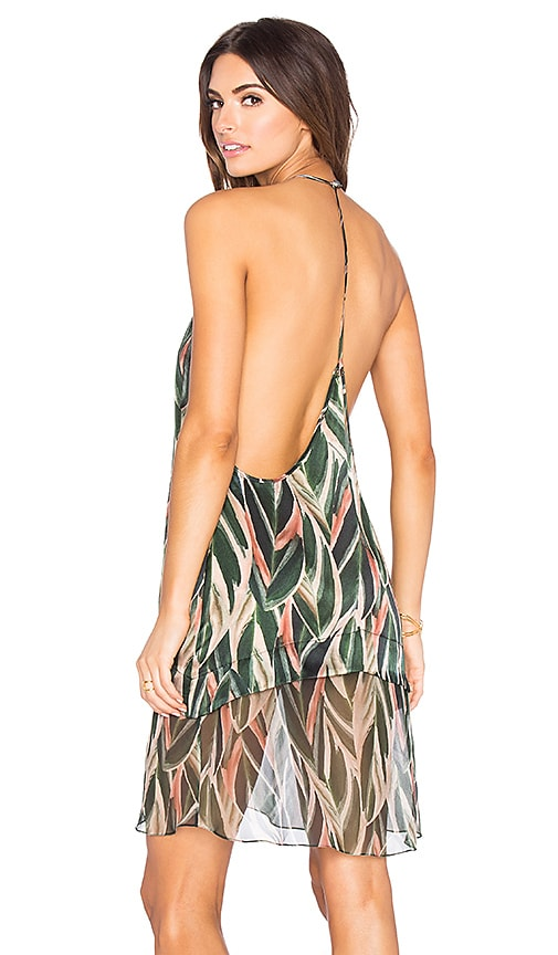 ADRIANA DEGREAS Araruta Print Racerback Mini Dress in Green