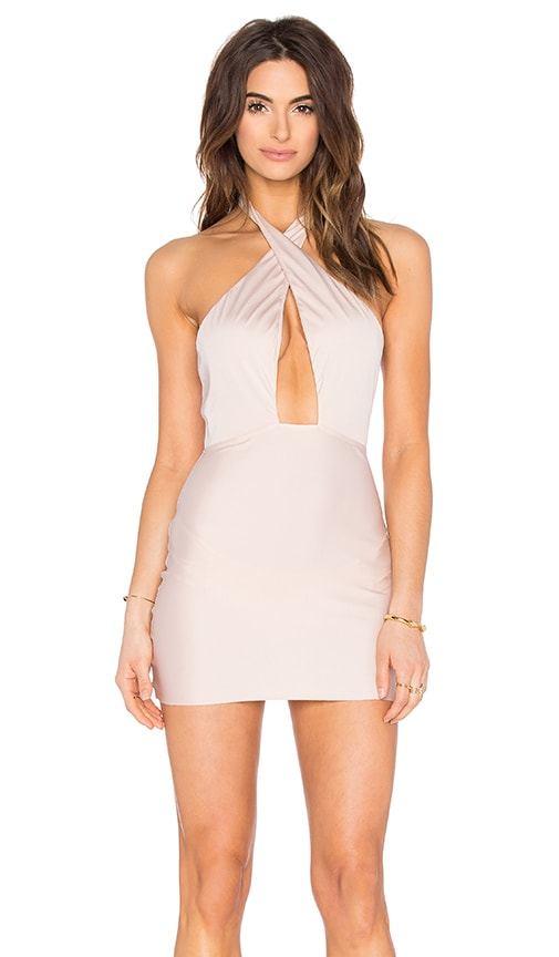 ADRIANA DEGREAS Halter Dress in Blush