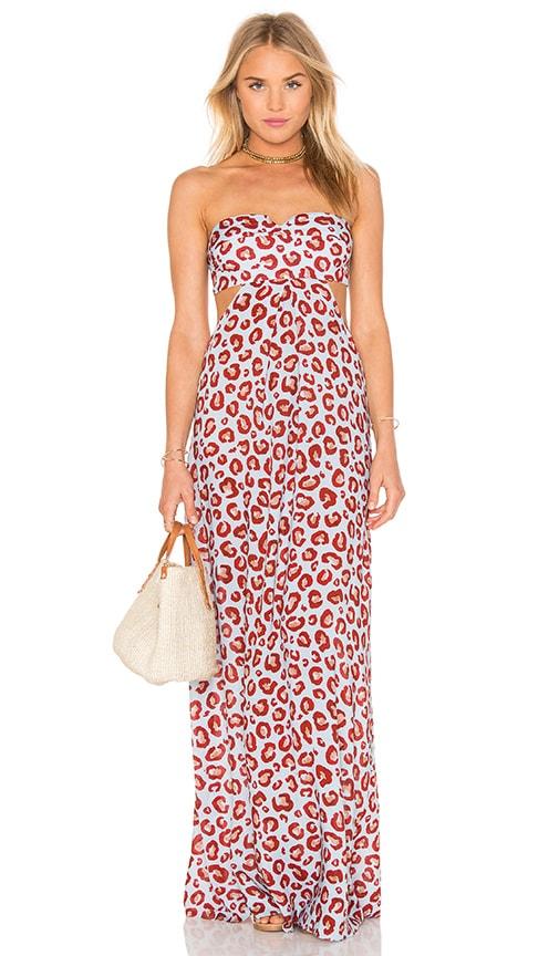 ADRIANA DEGREAS Leopard Print Maxi Dress in Blue