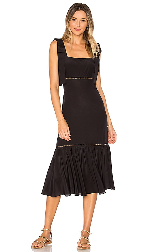 ADRIANA DEGREAS Solid Midi Dress in Black