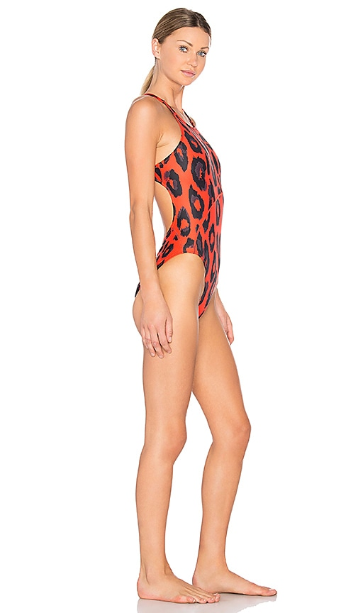 627b0400371f6 adidas by Stella McCartney Performance Swimsuit in Red, Black & Grey free  shipping