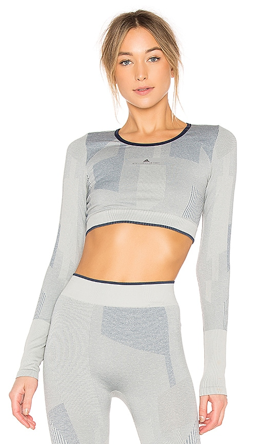 adidas by Stella McCartney Train Block Crop Top in Light Gray