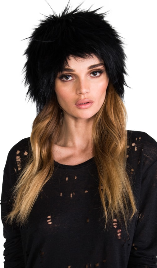Raccoon Fur and Knit Hat