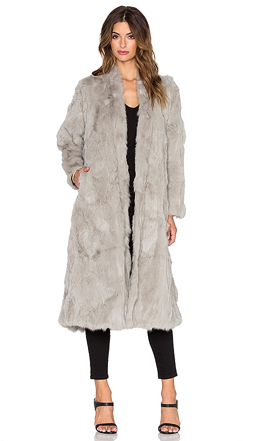 Adrienne Landau Rabbit Fur Duster Coat in Lt. Grey