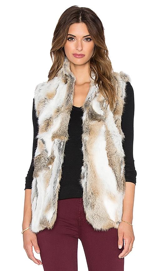 Adrienne Landau Textured Rabbit Fur Vest in Natural Brown