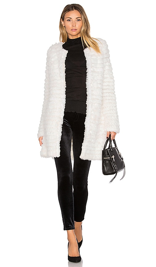 Adrienne Landau Knit Rabbit Fur Coat in White