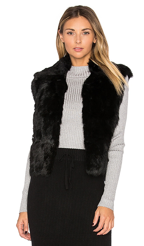 Adrienne Landau Rabbit Fur Vest in Black