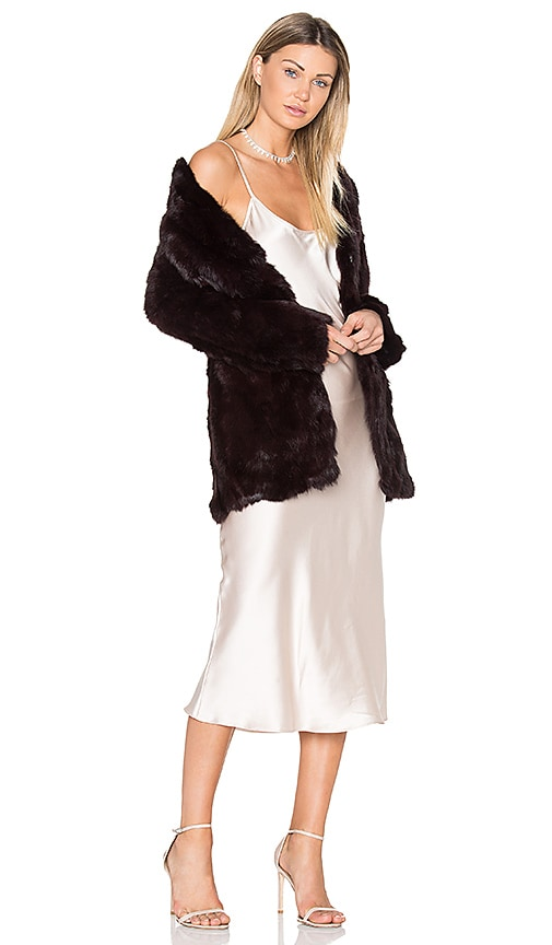 Adrienne Landau Rabbit Fur Coat in Burgundy