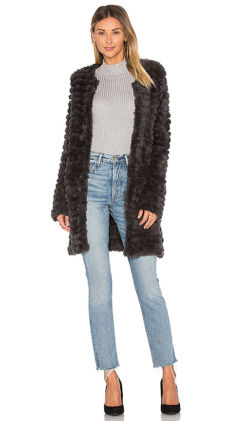Adrienne Landau Knit Rabbit Fur Coat in Charcoal