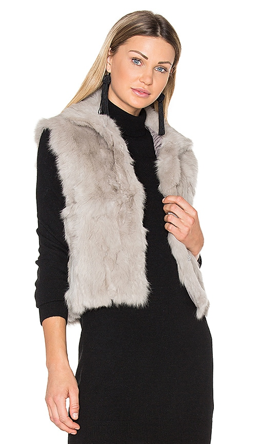 Adrienne Landau Rabbit Vest in Grey
