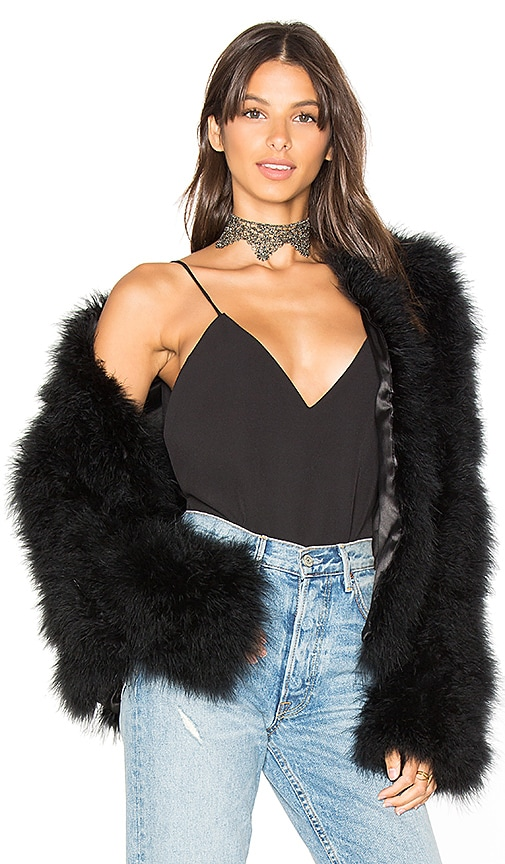 Adrienne Landau Marabou Feather Jacket in Black