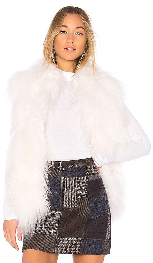 Adrienne Landau Mongolian Vest in White
