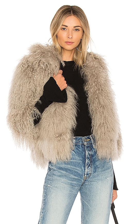 Adrienne Landau Mongolian Lamb Jacket in Gray