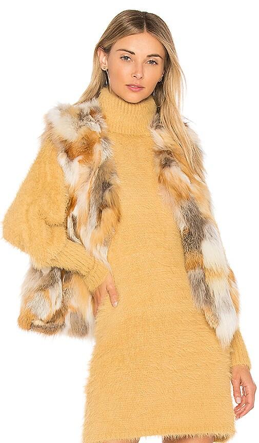 Adrienne Landau Natural Fox Vest in Beige