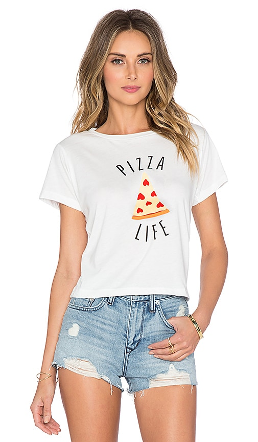 A Fine Line Pizza Life Brothers Crop Tee in White
