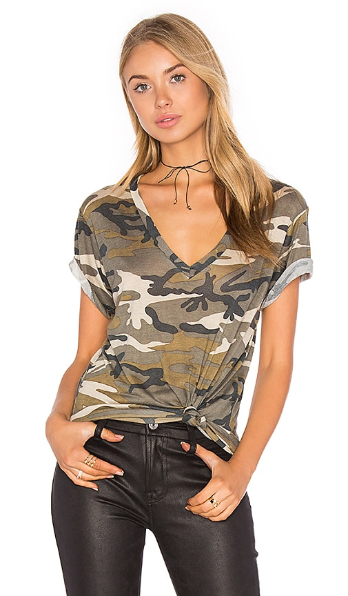 A Fine Line Levi V Neck Tee in Army