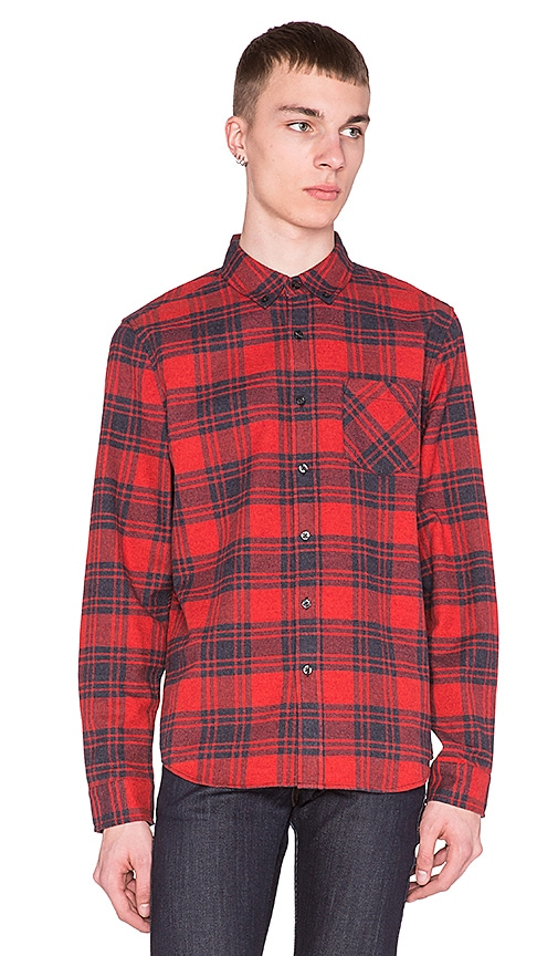 AG Adriano Goldschmied Nimbus Shirt in Red Plum Plaid