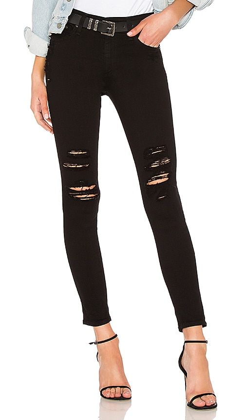 AG Adriano Goldschmied Farrah Skinny Ankle Jean in 5 Years Black Destructed