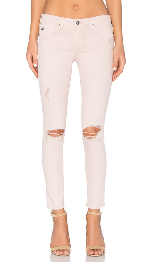 AG Adriano Goldschmied Legging Ankle in Sun Faded Distressed Sandy Rose