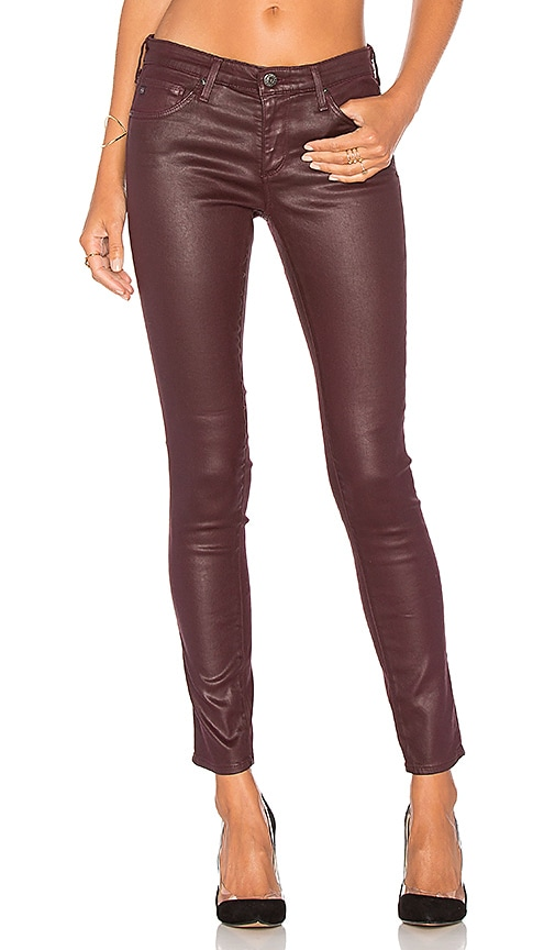 AG Adriano Goldschmied Legging Ankle in Leatherette Light Wine