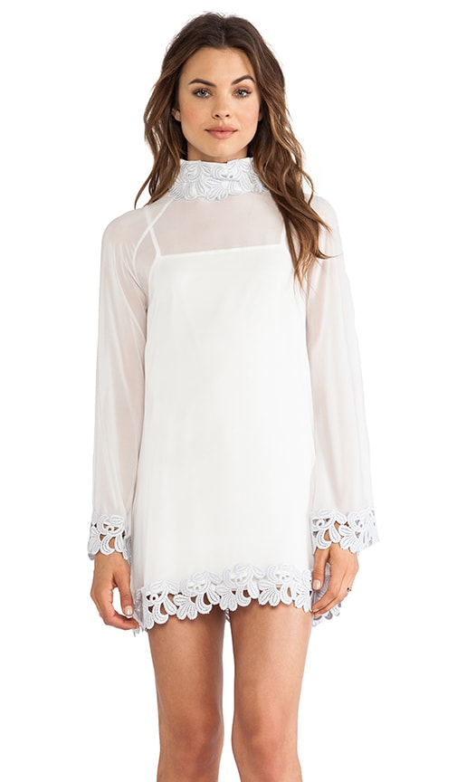 Little Edie Parisian Laced Chiffon Bell Sleeve Dress