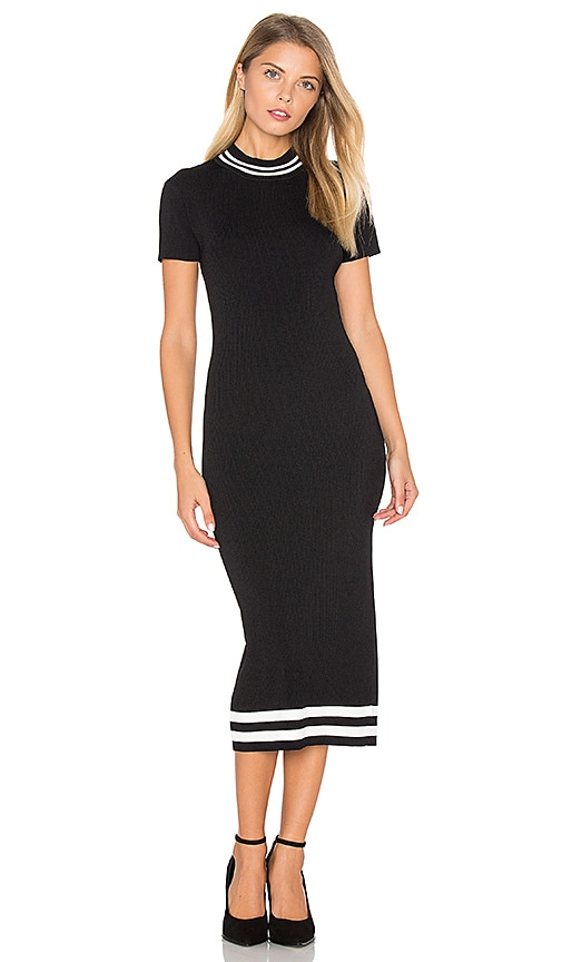 AGAIN Parker Midi Dress in Black