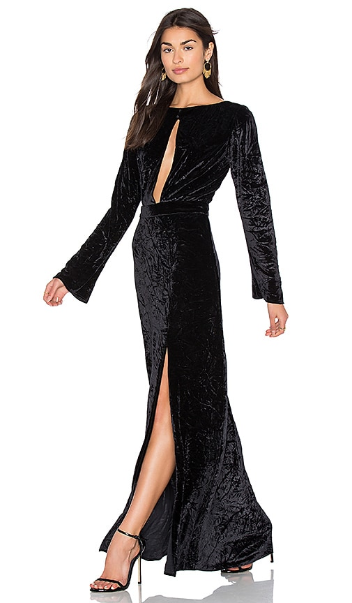 AGAIN Grace Velvet Maxi Dress in Black
