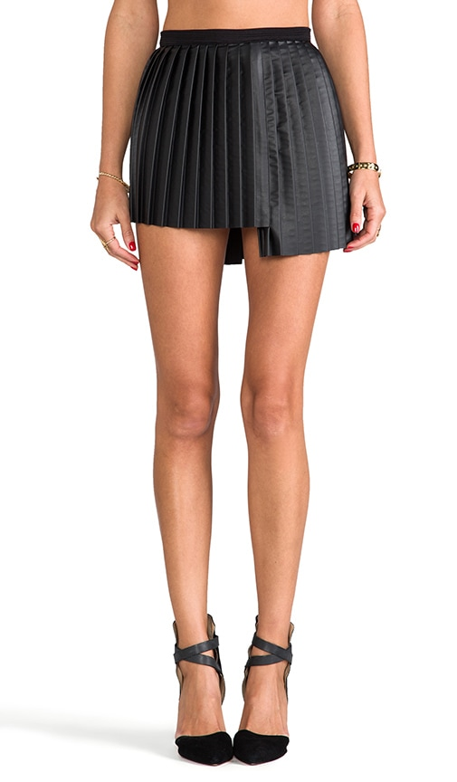 Foxy Pleated Faux Leather Skirt