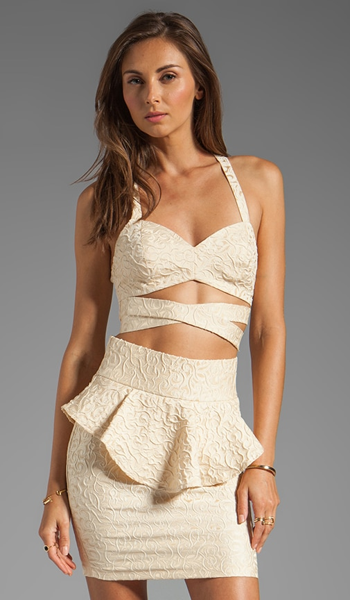 Cabaret Embossed Strapped Crop Bustier