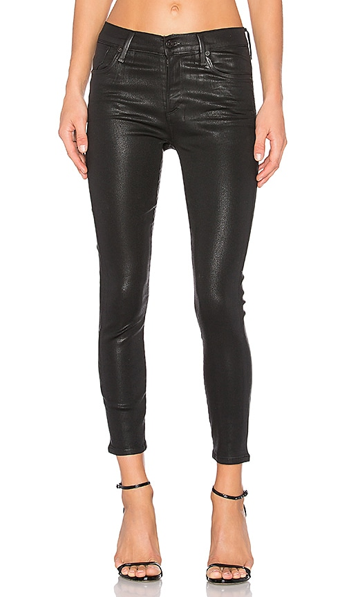 AGOLDE Sophie High Rise Crop in Black Leatherette