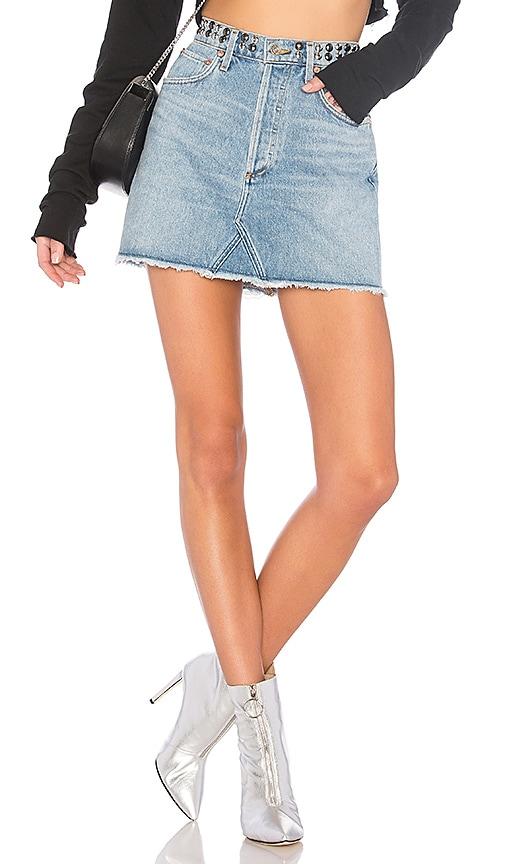 AGOLDE Quinn Hi Rise Mini Skirt in Studded Devotee