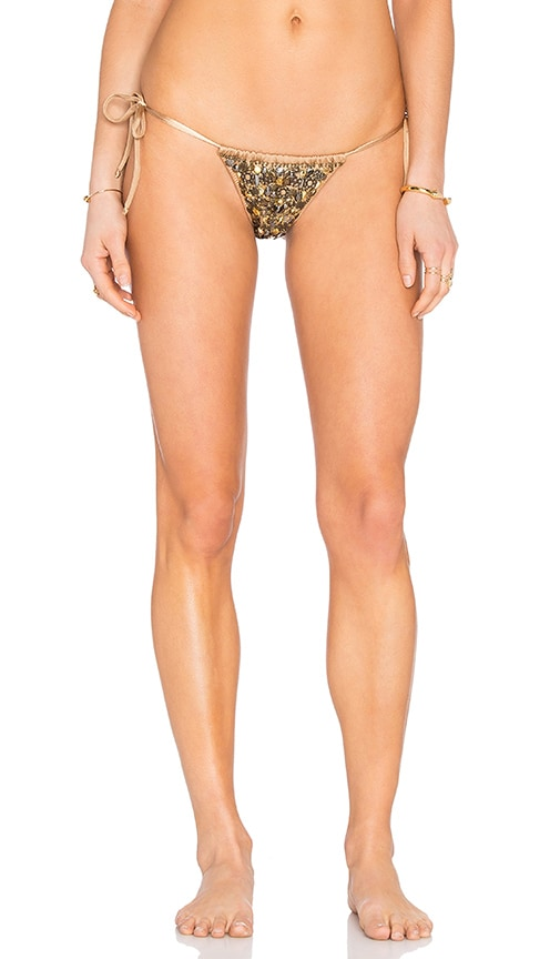 Agua Bendita Esplendor Bikini Bottom in Metallic Bronze