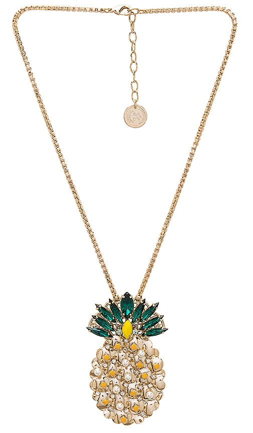 Anton Heunis Pineapple Pendant Necklace in Metallic Gold